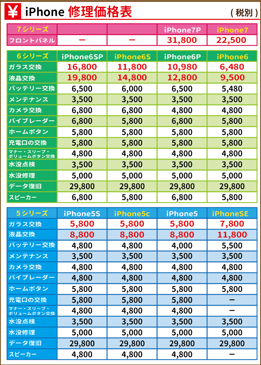価格表(小倉店版)