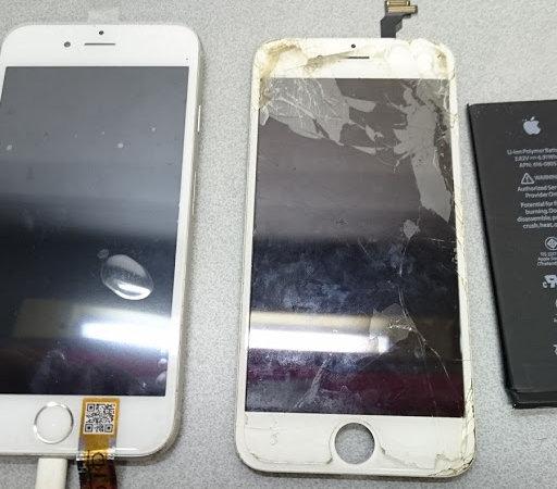 iphone6の画面修理とバッテリー交換iPhone(アイフォン)ガラス(液晶)交換、修理ならスマレンジャー【格安で即日対応】